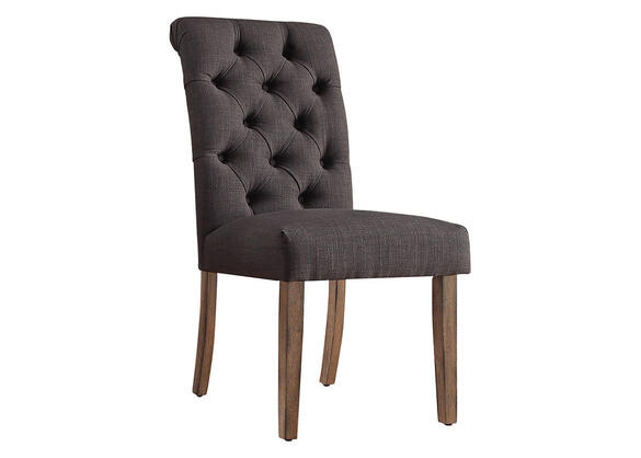 Drk Gray Linen Roll Tuft Chair Gray
