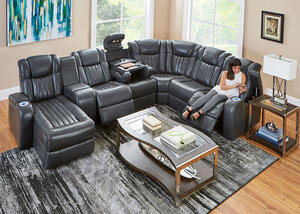 Tesla 7pc Raf Pwr Leather Sectional