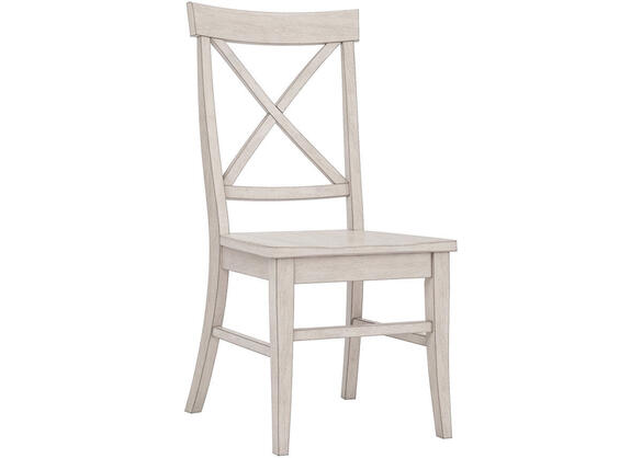 White Finish X Back Side Chair White