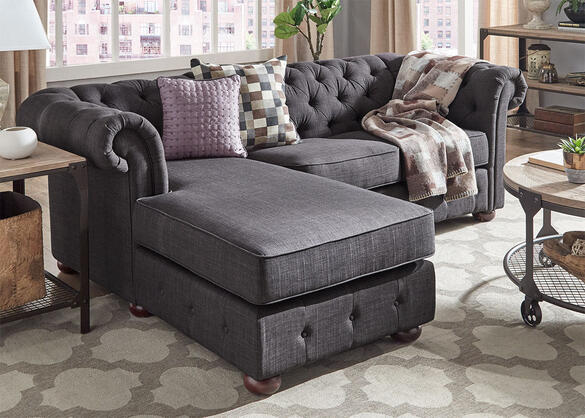 Barrington Charcoal Linen Sofa Chaise (Reverse)