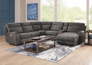 Mercury 6pc Power Sectional & Power Headrests w/Two Armless Chairs