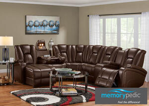 Matrix Brown 6 Pc. Sectional w/Drop Down Entertainment Table (Reverse)
