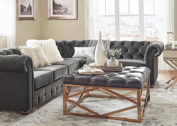 Barrington Charcoal Velvet 6-Seat Sectional