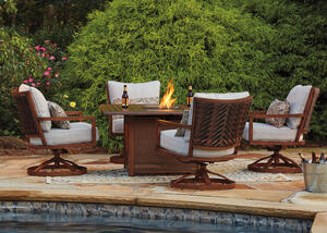 Avalon 5 Pc. Fire Pit Patio Set Brown