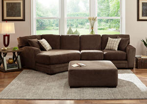 Easton Chocolate 2 Pc. Sectional w/Cuddler Chaise (Reverse)