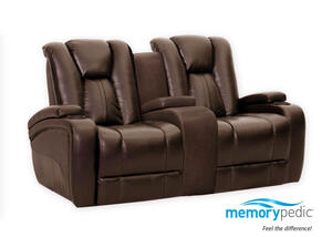 Matrix Brown Power Reclining Loveseat w/Power Headrest