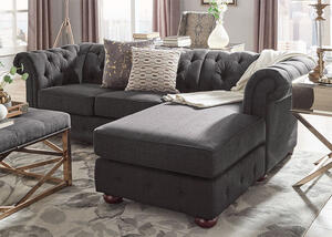 Barrington Charcoal Linen Sofa Chaise