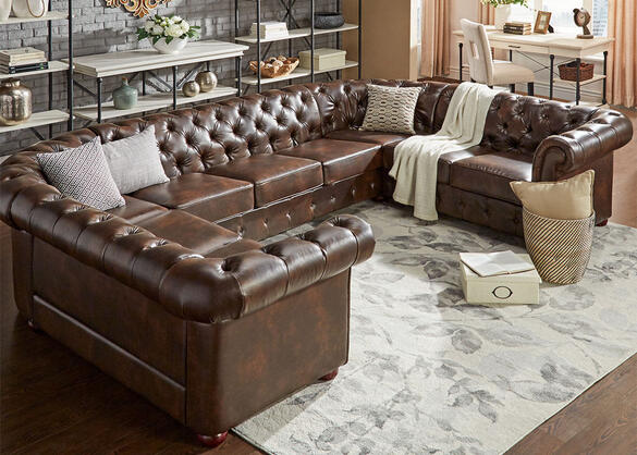 Barrington Faux Leather 9-Seat U Sectional
