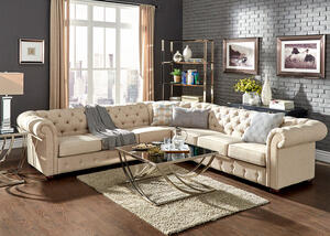 Barrington Beige Linen 7-Seat Sectional