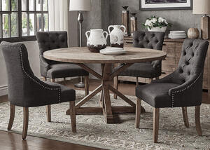 "Richland 5 Pc. 60"" Round Table Dinette w/Charcoal Linen Curved Back Chairs"
