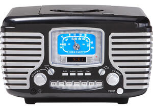 Crosley Corsair Black Clock Radio w/Bluetooth