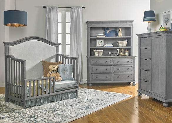 Naples Nantucket Gray Upholstered Convertible Crib by Dolce Babi