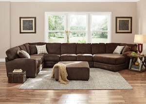Easton Chocolate 3 Pc RAF Sectional w/Cuddler Chaise