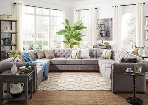 Barrington Gray Linen 11-Seat U Sectional