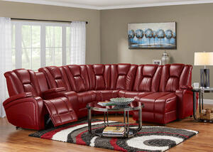 Matrix Red 6 Pc. Sectional w/Drop Down Entertainment Table