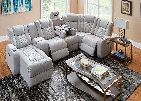Tesla Fabric 6 Pc. Power Sectional w/Entertainment Table (Reverse)