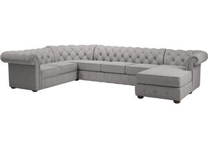 Barrington Gray Linen 7-Seat Sectional w/Chaise