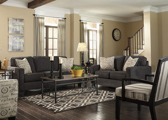 Arthur Charcoal 3 Pc. Living Room w/Accent Chair - The RoomPlace