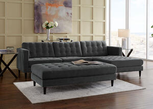 Sydney 2pc Sectional Sydney Charcoal
