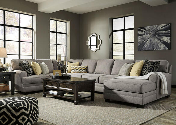 Claudine 4 Pc. Sectional w/Armless Sofa & Chaise