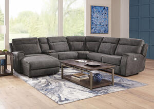 Mercury 6pc Power Sectional & Power Headrests (Reverse) w/Two Armless Chairs