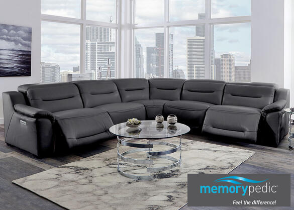 Callisto Charcoal 5 Pc. Power Sectional w/Two Armless Chairs & Power Adjustable Headrests