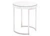Mirrored Circular End Table Gray