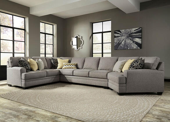 Claudine 4 Pc. Sectional w/Armless Sofa & Cuddler Chaise