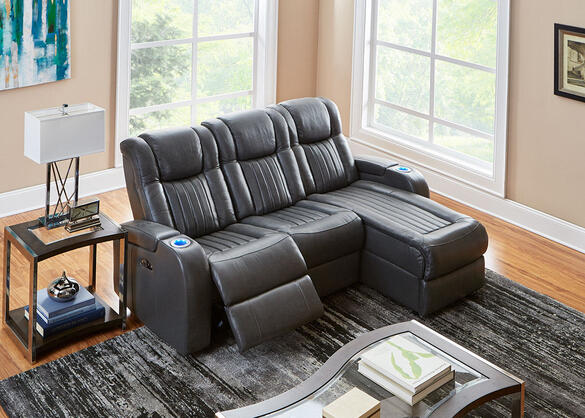 Tesla 3pc Laf Pwr Leather Sectional