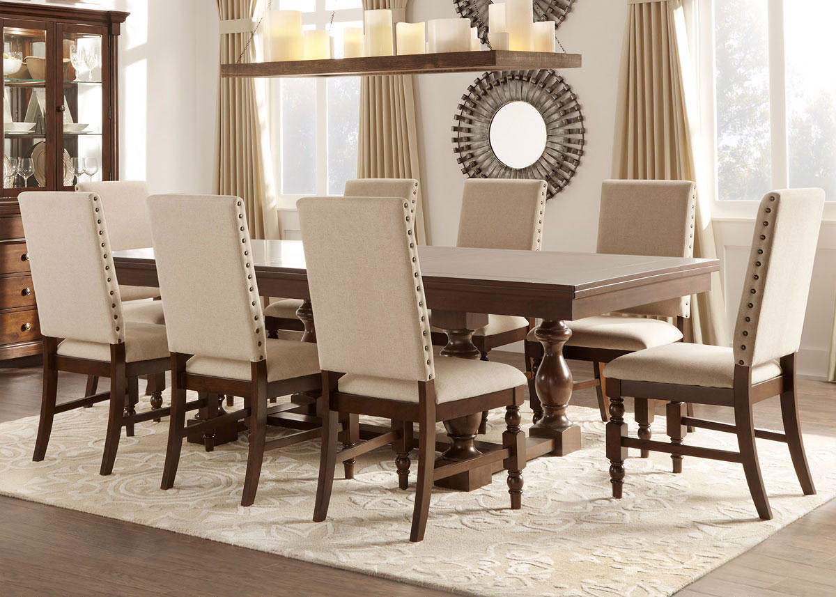 Charlotte 7 Pc. Dining Room W/Linen Chairs