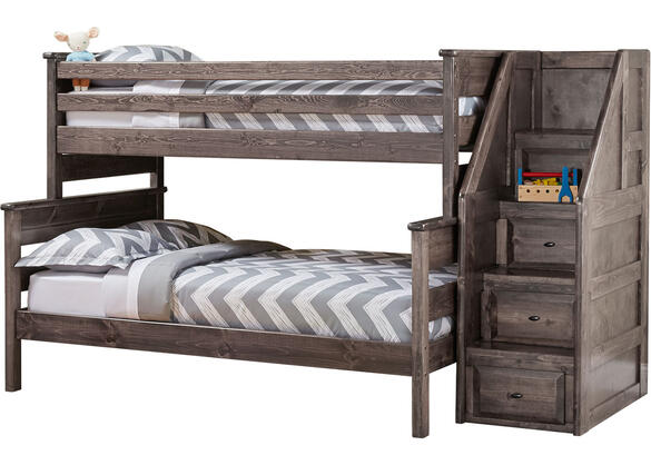 Catalina Gray Twin Full Bunk Bed W Stairs The Roomplace
