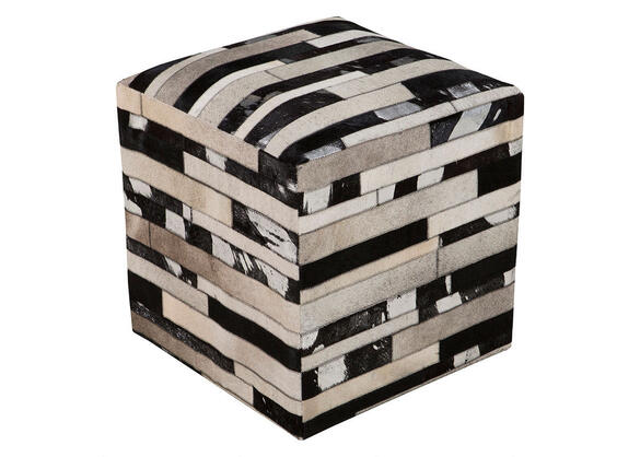 Hand Crafted Slat Pouf Black