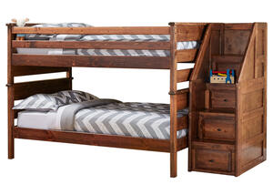 CATALINA F/F/ CH BUNK BED W/STAIRCASE CHESTNUT