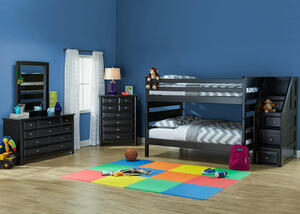 Catalina Black 5 Pc. Full Bunk Bedroom with Staircase