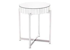Mirrored X Circular End Table Gray