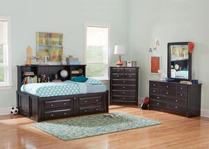 CATALINA 6PC TWIN BLK ROOMSAVER BEDROOM BLACK