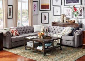 Barrington Gray Linen 7-Seat Sectional