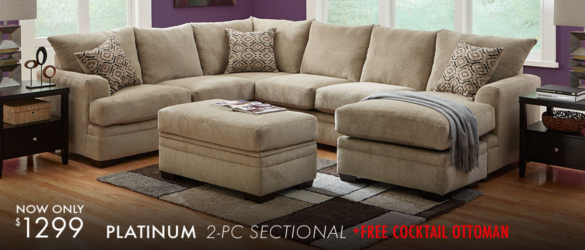 Platinum 2 Pc Sectional with Free Cocktail Ottoman