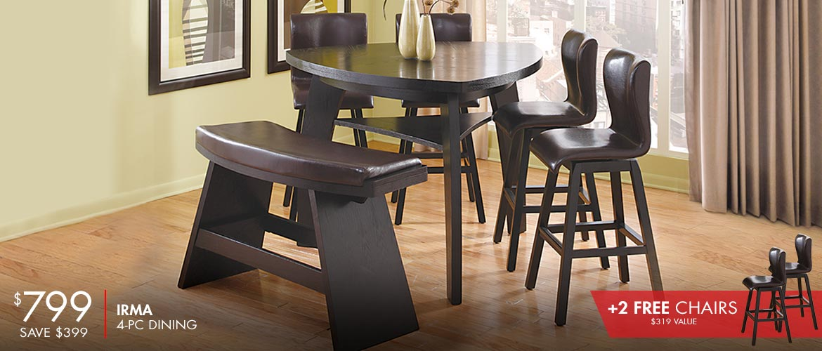 Irma 4 Pc Dining Room with 2 Free Chairs