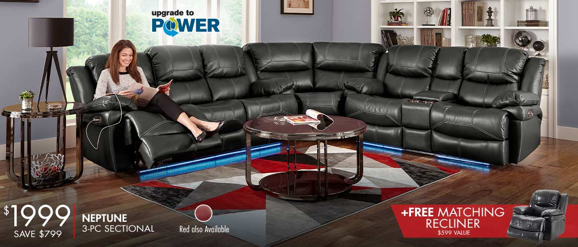 Neptune 3 Pc Sectional with Free Matching Recliner