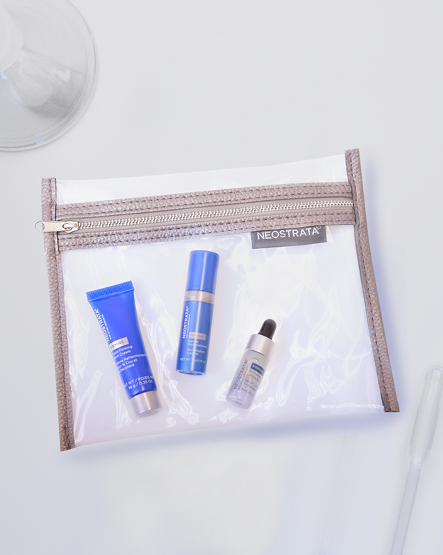Sample bag contains deluxe samples of Skin Active Tri-Therapy Lifting Serum, Skin Active Triple Firming Neck Cream, and Skin Active Dermal Replenishment.
