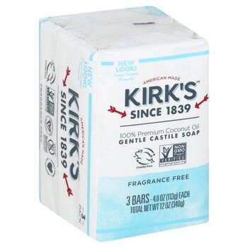 Kirk's Castile Bar Soap Fragrance Free 3Pk, 12oz
