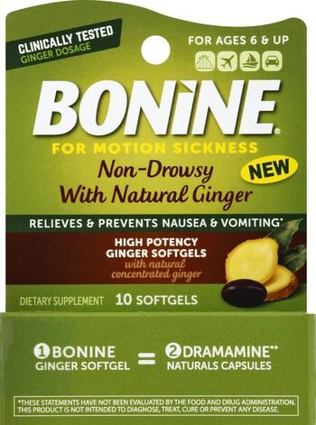 Bonine High Potency Ginger Softgels 10 Count