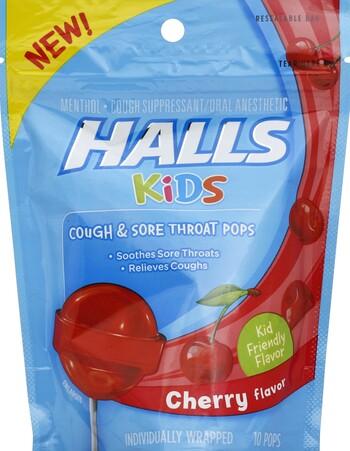 Halls Kids Cherry Pops 10Ct