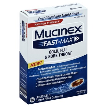 Mucinex Fast Max Liquid Gels Cold Flu And Sore Throat 16 ct
