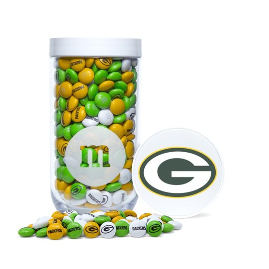 Green Bay Packers NFL M&M'S Candy Gift Jar with Cap Showing