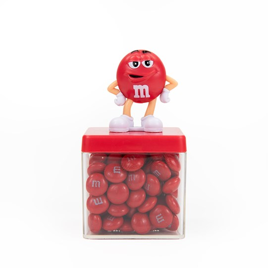 M&M'S Character Cube Gift Box, Front View of Container Filled with M&M'S and Character Figurine on Lid