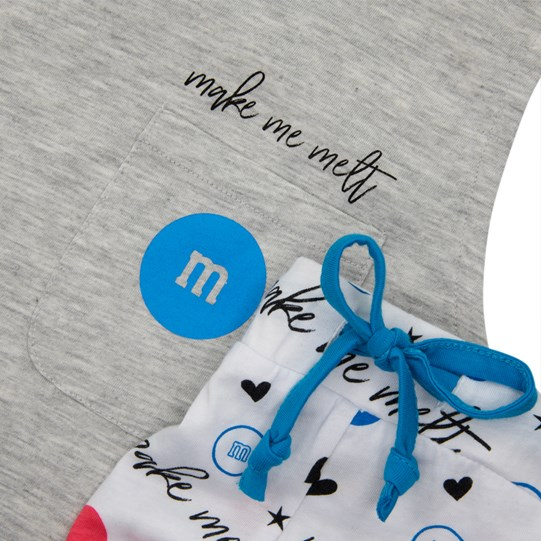 Ladies M&M'S Make Me Melt Tank and Short Set, Detailed Up Close View of Grey Cut-Off Tee Paired with White Patterned Draw String Shorts
