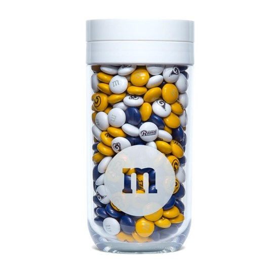 Los Angeles Rams NFL M&M'S Candy Gift Jar - Rams-themed M&M'S inside gift jar.