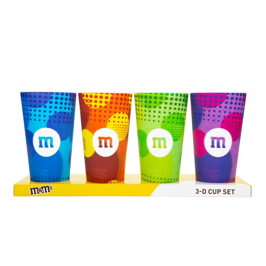M&M'S 3D M Logo Cups, 4 Pack - In packaging